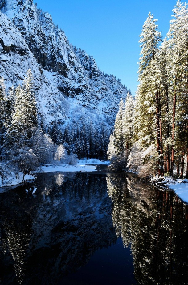 Winter River Reflection - Yosemite National Park