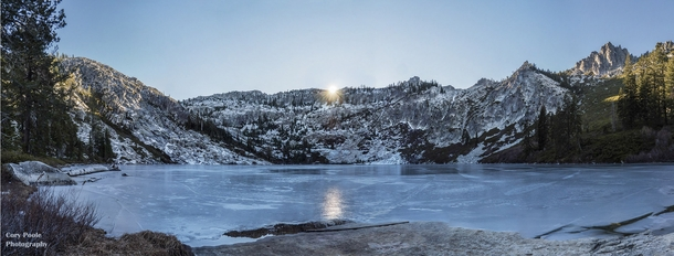 Winter Solstice Sunset at Big Bear Lake in the Trinity Alps Wilderness of Northern California