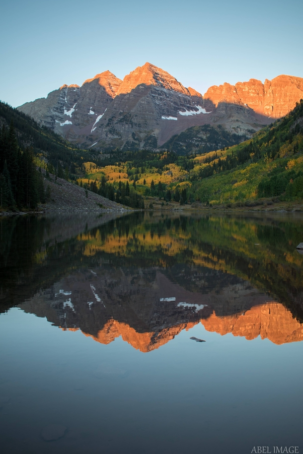 Woke up at am so I could catch the sun rising over the Maroon Bells this morning x