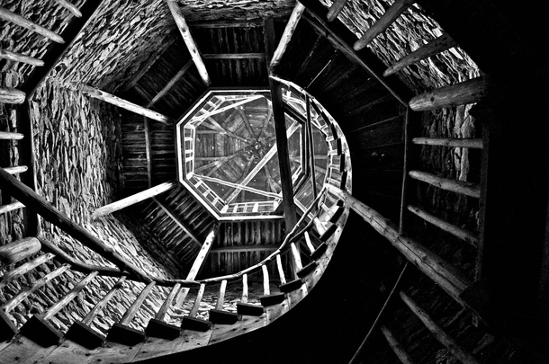Wooden Spiral Staircase in an Abandoned Orphanage in Rural SE US