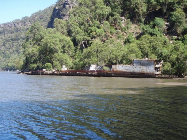 Wreck of the Australian River class destroyer HMAS Parramatta on the Hawkesbury River in New South Wales She served in WW and ran aground in  while on tow towards a ship-breaker