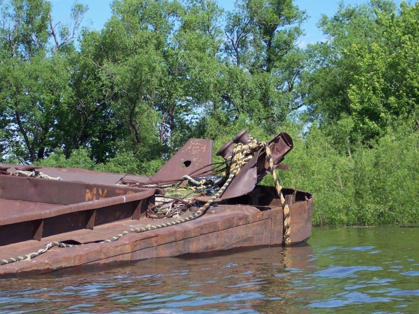Wrecked sunken barge on the Mississippi river near Saint Paul MN