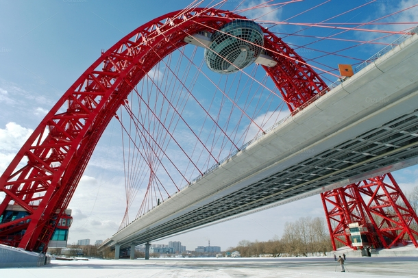 Zhivopisny Bridge is a cable-stayed bridge that spans Moskva River in north-western Moscow Russia