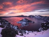 A Burning Morning at Crater Lake National Park - Oregon x