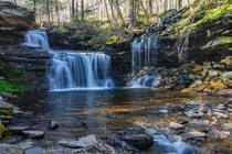 A cascading waterfall in Ricketts Glen State Park PA