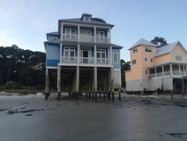 Abandoned beach houses on stilts Daufuskie Island SC