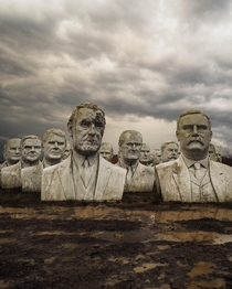 abandoned presidential busts in a field in Croaker Virginia