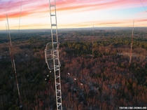 Abandoned radio tower array and station in the woods of Rhode Island