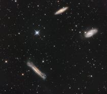 After over  months of learning I was able to take this image of the Leo Triplet fom my patio   hours over  nights