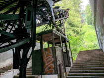 An abandoned cable car station I hiked to in the French Alps Opened in  and closed in