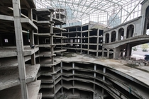 billion unfinished and abandoned mall complex in China Approximately  of it is shown with a person for scale