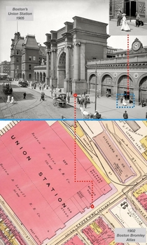 Boston Union Station Photo and Map - High resolution glass plate image Zoom inyou can see whos using their cell phones