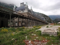 Canfranc train station in the Pyrenees mountain range at the border between France and Spain abandoned since