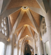 Ceiling of the cloister at Gaudis La Sagrada Familia Barcelona