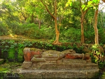 century sculpture of Vishnu sleeping on the serpent Seshnag in Bandhavgarh national park India
