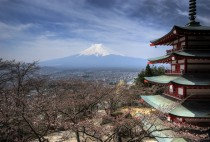 Chureito Pagoda in Fujiyoshida with Mount Fuji in