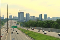 corridor in Greater Toronto is getting denser  too I like the city-scape  urban canyon vibe these highways are getting