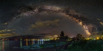degree Milky Way panorama over Skaha Lake in BC