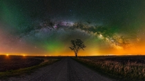 degree panorama of the summer night sky complete with atmospheric air glow