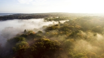 Drone Shot of Autumnal Morning Mist Over Eastern CT