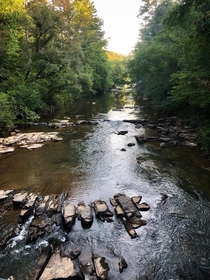 Early morning autumn walk along the Tallulah River north of the gorge Tallulah Gorge GA USA x