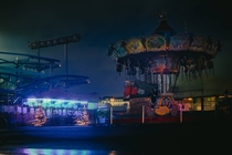 empty funfair Hamburg Germany shortly before dawn spooky to walk through but pretty nonetheless
