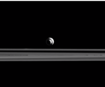 Enceladus and Tethys photo taken by the Cassini spacecraft