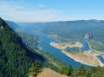 feet above the Columbia River Gorge Oregon and Washington USA