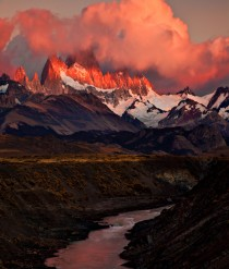 Fitz Roy- fiery sunrise  Patagonia Argentina