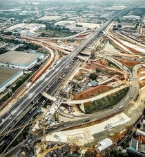 Freeways and a HSR line under construction in Jakarta
