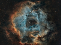 hours of data of the Rosette Nebula processed in a modified Hubble palette x-post from rspace