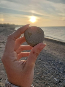 I found this rock on a beach on Lake Erie with a perfect heart in it x