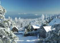 inches of snow at the LeConte Lodge Great Smoky Mountain National Park