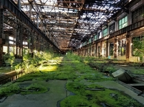 Inside the main building of an abandoned trainyard