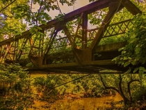 Iron Bridge no longer in use Gnaw Bone Indiana