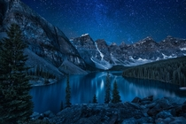 It was too cold to sleep that night so I went and took a picture of Moraine Lake under the night skies