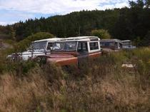 Junked Land Rovers in rural Newfoundland Canada
