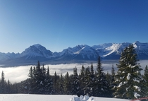 Lake Louise Ski Resort in Alberta Canada on Boxing Day If you look closely you can see Chateau Lake Louise at the base of the right mountain  x