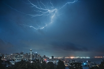 Lightning striking over Seattle