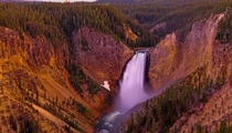 Lower Yellowstone Falls after a rain storm during dusk  x  c_connolly