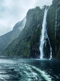 metre high Stirling Falls at Milford Sound New Zealand