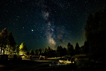 Milky way over a trailer park in Washington
