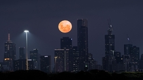 Moonrise over Melbourne Australia