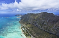Mountains Meet Ocean - Another shot from the helicopter over Oahu Hawaii