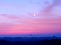 Mt Hood at sunset from Table Rock OR  x