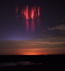 Naked-eye Sprite Storm over Kansas Sprites are large-scale electrical discharges that occur high above thunderstorm clouds or cumulonimbus giving rise to a quite varied range of visual shapes flickering in the night sky