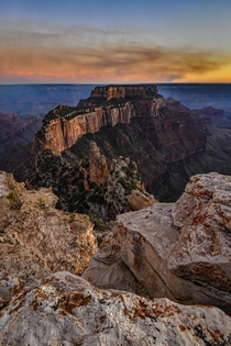 North Rim of the Grand Canyon with a Forest fire making the sunset one of a kind Dim x