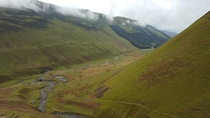 of the way up Grey Mares Tail in Scotland