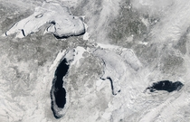 out of  of the Great Lakes frozen over
