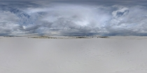 panorama of rain storms surrounding White Sands National Monument